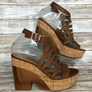 Franco Sarto Jiminy 7.5M Leather Platform Sandals